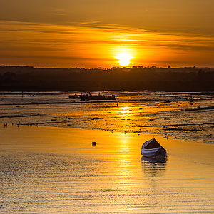 Sunset ove Amble harbour